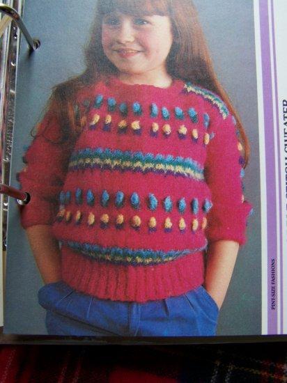 USA 1 Cent S&H Child's Vintage Knitting Pattern Bobble Stitch Pullover Sweater