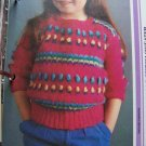 USA 1 Cent S&H Child's Vintage Knitting Pattern Bobble Stitch Pullover Sweater