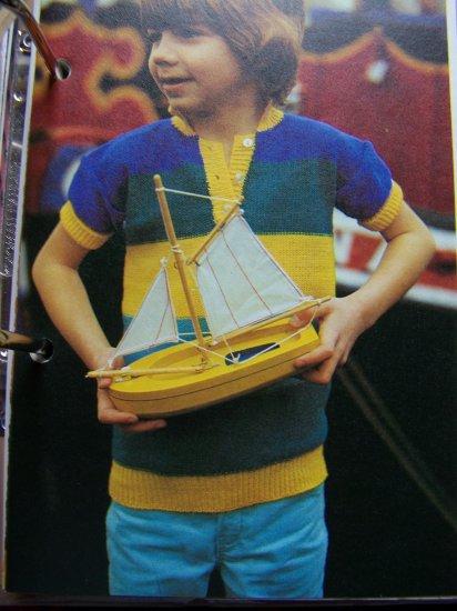 1 Cent USA S&H Kids Vintage KNitting Pattern Button Collar T Shirt Sweater 6 7 8 9
