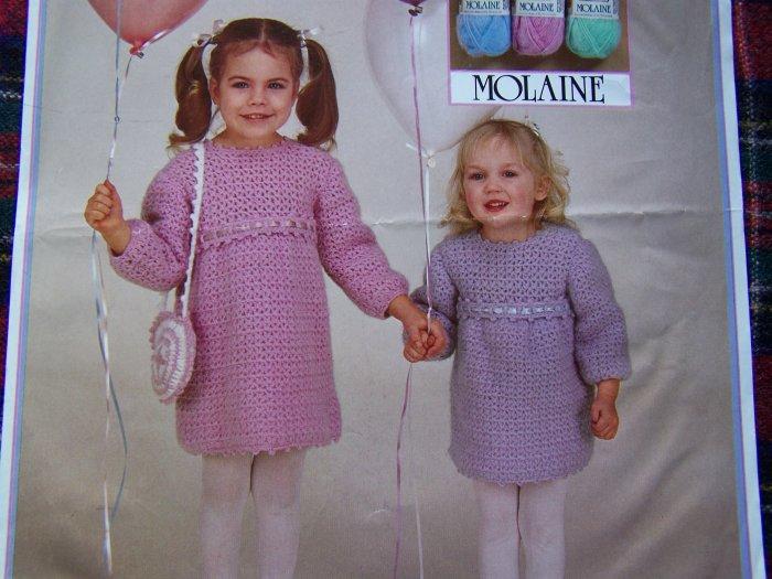 1 Cent USA S&H Crochet Pattern Girls 2 4 6 8 Crocheted Easter Dress and Purse