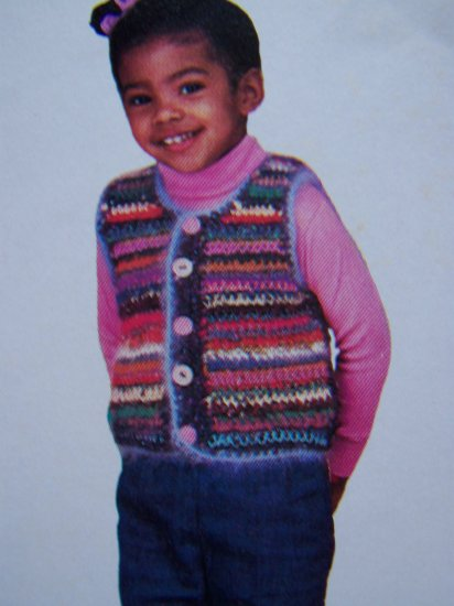 US 1 Cent S&H Girls 2 3 4 Crochet Pattern Multi Color Crocheted Button Up Sweater Vest