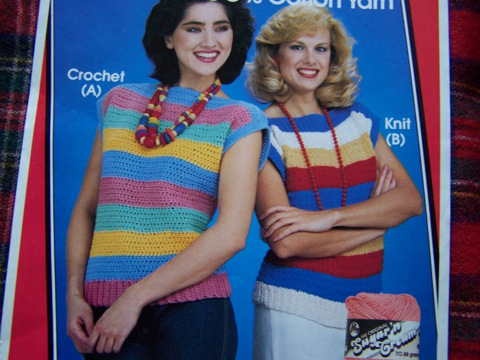 US 1 Cent S&H Vintage 1980's Crochet & Knit Striped Sweaters Patterns