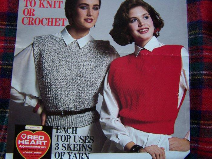 Vintage 80's Womens Tabard Sweaters To Knit & Crochet Sz 6 8 10 12 14 16 18 20