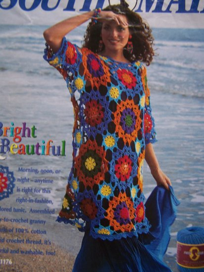 Thread Crochet Floral Granny Cover Up Sweater Crocheting Pattern One Size