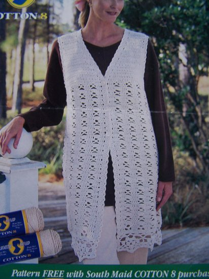 90's South Maid 8 Womans Long Sweater Vest Crochet Pattern Sz S M L XL