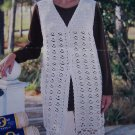 90's South Maid 8 Womans Long Sweater Vest Crochet Pattern Sz S M L XL