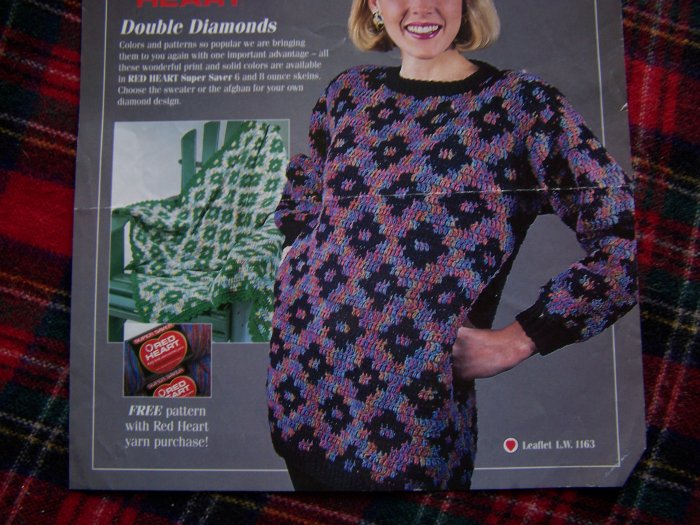 90's Crochet Pattern Womans Double Diamonds Pullover Sweater & Afghan
