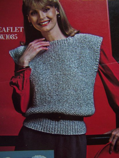 USA 1 Cent S&H 80's Vintage Knitting Pattern Womans Knit Sweater Tunic Top