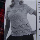 Vintage Crocheted Lacy Blouse Crochet Pattern Lady's S 10 12  M  14 16