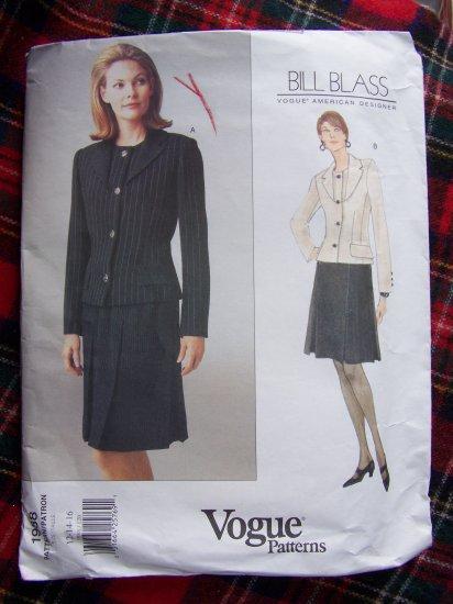 Uncut 90's Vogue Sewing Pattern American Designer Bill Blass Skirt & Jacket Suit 1988