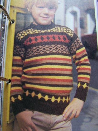 USA 1 Cent S&H Kids Vintage Knitting Pattern Pullover Jacquard Sweater
