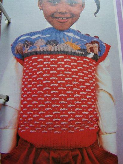 Vintage Boys Girls Sleeveless Sweater Top Knitting pattern House Tree Scene