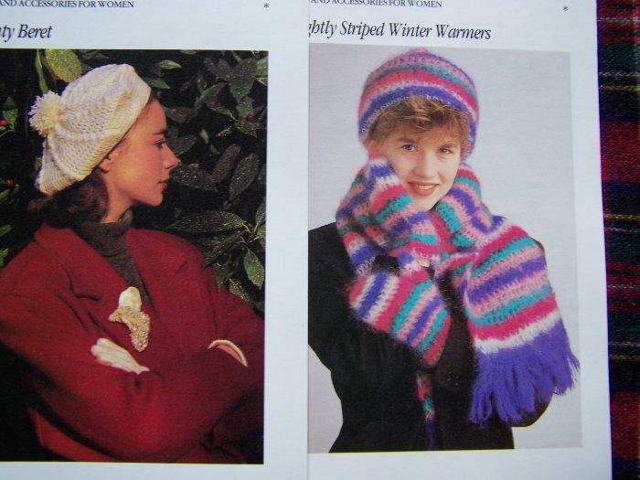 1 Cent USA S&H Vintage Crochet Patterns Womens Beret & Stocking Hat Scarf Gloves