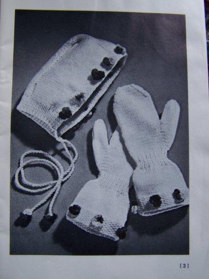 60's Vintage Mittens & Socks Knitting Pattern Book 163 Winter Hood Hats Stole Wrap Cape