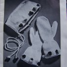 60's Vintage Mittens & Socks Knitting Pattern Book 163 Winter Hood Hats Stole Wrap Cape