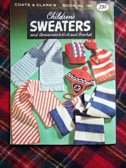 1960's Vintage Childrens Sweaters & Accessories To Knit & Crochet Sz 2 4 6 8 10 12
