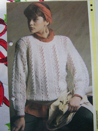 Moss Stitch Jumper Knitting Pattern : Vintage Womens Lace and Moss Stitch Pullover Sweater Knitting Pattern