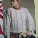 Vintage Womens Lace and Moss Stitch Pullover Sweater Knitting Pattern