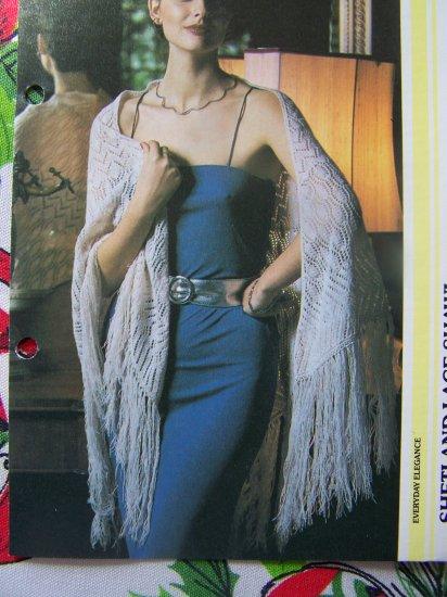 80's Knitting Pattern Shetland Lace Shawl Wrap with Long Fringe