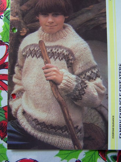 Family Knitting Patterns Vintage Fair Isle Pullover Sweaters XS S M L XL XXL
