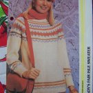 Lady's Vintage 80's Knit Pattern Fair Isle Pullover Sweater Bust 36 - 38""