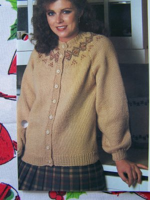 Vintage Knitting Pattern Womens Cardigan Sweater With Patterned Yoke