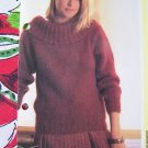 USA 1 Cent S&H Vintage Knitting Pattern Womens Pullover Sweater with Wide Collar
