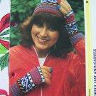 US 1 Cent S&H Vintage Misses Turkish Style Colorful Gloves & Winter Hat