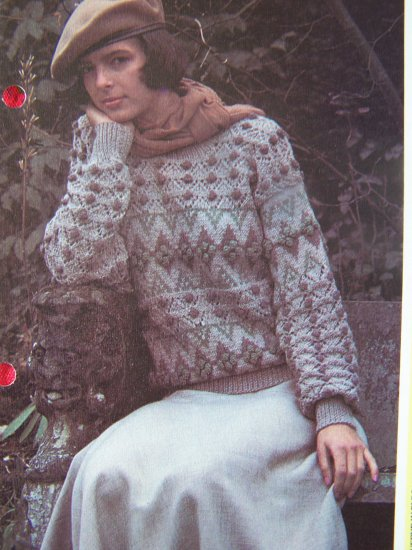 1 Cent USA S&H VIntage Fair Isle & Lace Stitch Bobble Sweater Knitting Pattern