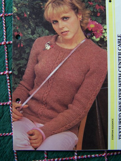 USA 1 Cent S&H Ladys Textured Pullover Sweater with Center Cable knit Vintage Knitting Pattern