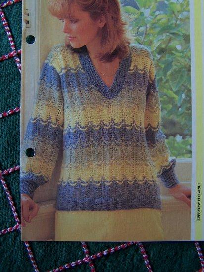 USA 1 Cent S&H Vintage Knitting Pattern Misses V Neck Pullover Feather & Fan