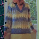 USA 1 Cent S&H Vintage Knitting Pattern Misses V Neck Pullover Feather & Fan
