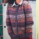 USA 1 Cent S&H Vintage Womans Fair Isle Knitted Cardigan Sweater Knitting Pattern
