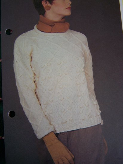 USA 1 Cent Shipping Vintage KNitting Patterns Misses Aran Pullover Sweater
