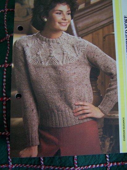 S&H 1 Cent USA Ladys Vintage Knitting Pattern Long Sleeve Patterned Yoke Sweater