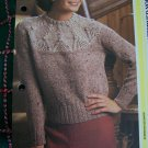S&H 1 Cent USA Ladys Vintage Knitting Pattern Long Sleeve Patterned Yoke Sweater