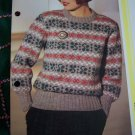 S&H 1 Cent USA Lady's Fair Isle Vintage KNitting Pattern Pullover Sweater