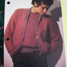 USA 1 Cent S&H Vintage Textured Sweater & Cardigan Set of 2 Knitting Patterns