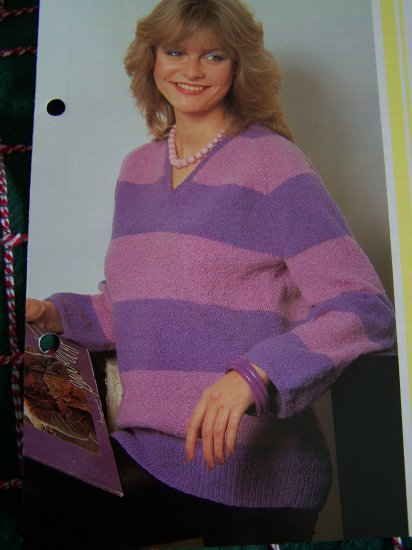1 Cent USA S&H Striped Raglan Pullover V Neck Sweater Knitting Pattern