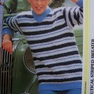 1 Cent USA S&H Easy Vintage Nautical Striped Long Sleeve Winter Sweater Knitting Pattern