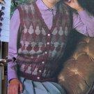USA 1 Cent S&H Lady's Vintage Patterned Front Sweater Vest Knitting Pattern