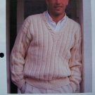 S&H 1 Cent USA Men's Knitting Pattern Sporty Wide Ribbed Cable V Pullover Sweater