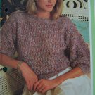 USA 1 Cent S&H Retro Women's Knitting Pattern Pullover Sweater with Button Sleeves