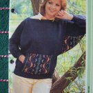 USA 1 Cent S&H Misses Patch Kangaroo Pocket Pullover Sweater Knitting Pattern