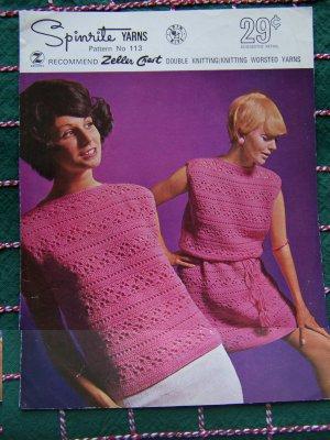 Vintage 1960's Womens Crochet Pattern Mod Sweater Dress & Tunic Top Spinrite 113