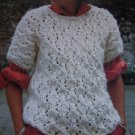 Vintage Wendy Knitting Pattern Lady's Sweater Short Sleeves Open Weave 2211
