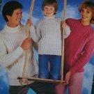 Vintage Knitting Pattern Argyll Family Sweaters Round or Polo Necks