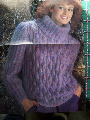 Free Knitting Pattern Mohair Cowl : Vintage Studley Mohair Knitting Pattern Womens Cowl Turtleneck Sweater