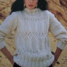Vintage Wendy KNitting Pattern Lady's Patterned Front Bulky Long Sleeve Sweater 2035