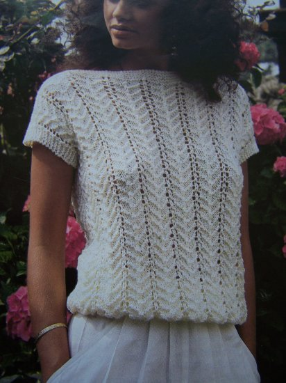 Vintage Hayfield Knitting Pattern Womens Lacy Knit Short Cap Sleeve Top